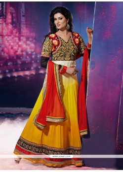Fetching Lace Work Yellow Anarkali Salwar Suit