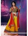 Fetching Lace Work Yellow Anarkali Salwar Suit