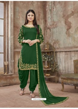 Forest Green Embroidered Party Wear Punjabi Patiala Suits