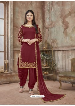Maroon Embroidered Party Wear Punjabi Patiala Suits