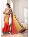 Cream And Pink Shaded Satin Party Wear Saree