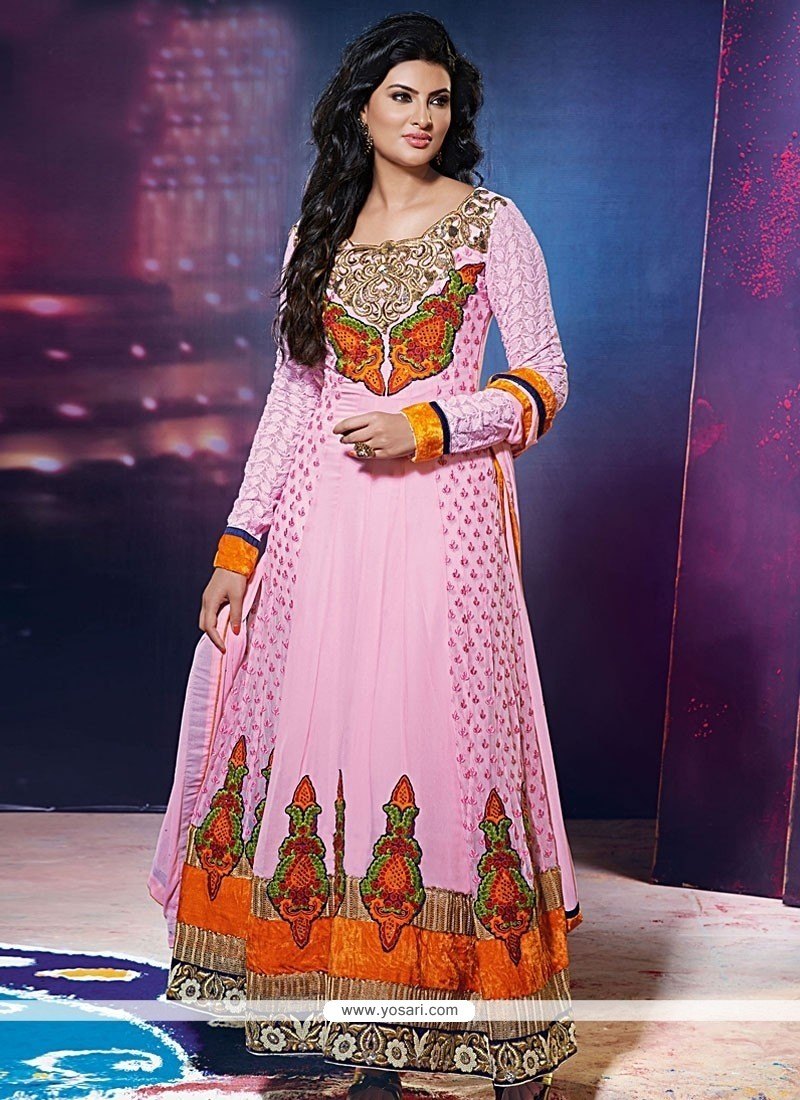 Groovy Pink Embroidered Work Anarkali Salwar Kameez