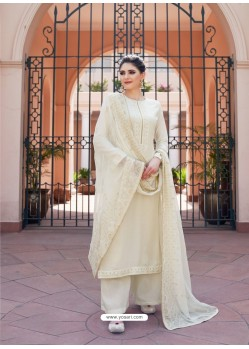 Off White Heavy Designer Party Wear Palazzo Salwar Suit