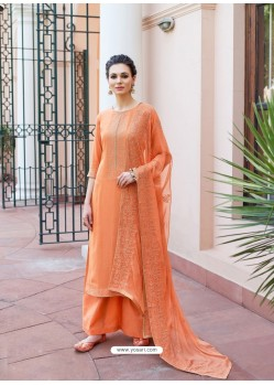 Orange Heavy Designer Party Wear Palazzo Salwar Suit