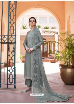 Grey Heavy Designer Party Wear Palazzo Salwar Suit