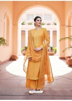 Mustard Heavy Designer Party Wear Palazzo Salwar Suit