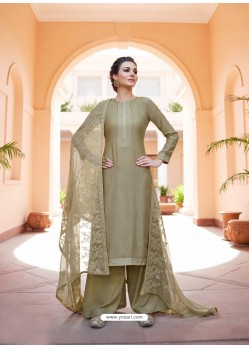 Taupe Heavy Designer Party Wear Palazzo Salwar Suit