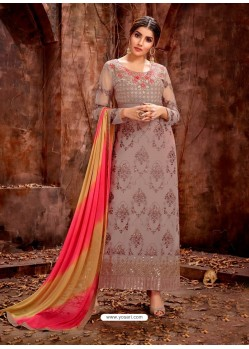 Light Brown Party Wear Designer Pure Georgette Salwar Suit