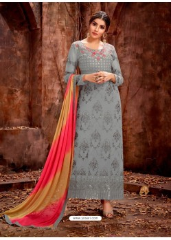 Silver Party Wear Designer Pure Georgette Salwar Suit
