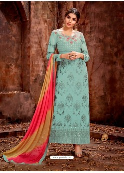Sky Blue Party Wear Designer Pure Georgette Salwar Suit