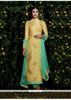 Innovative Resham Work Yellow Cotton Satin Churidar Designer Suit