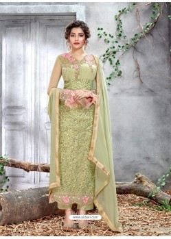 Green Party Wear Designer Straight Salwar Suit