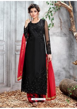 Black Party Wear Designer Straight Salwar Suit