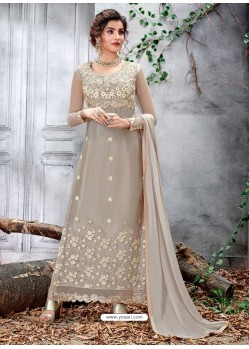 Light Grey Party Wear Designer Straight Salwar Suit