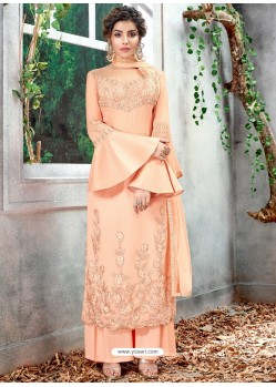 Light Orange Party Wear Designer Straight Salwar Suit