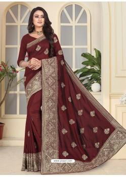 Deep Scarlet Fancy Designer Party Wear Silk Sari