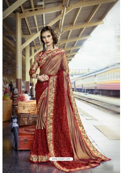 Maroon Fancy Party Wear Lycra Silk With NetᅠSari