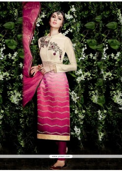Ideal Hot Pink And Off White Churidar Designer Suit