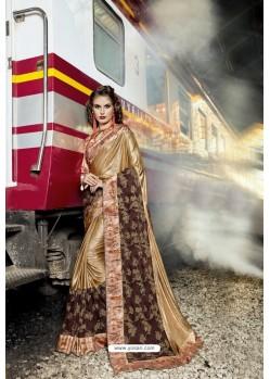 Gold Fancy Party Wear Lycra Silk With NetᅠSari