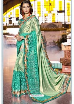 Aqua Mint Fancy Party Wear Lycra Silk With NetᅠSari