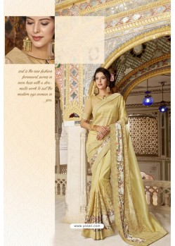 Khaki Fancy Party Wear Vichitra SilkᅠSari