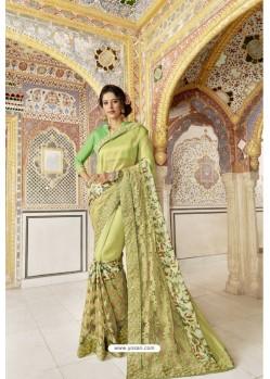 Green Fancy Party Wear Vichitra SilkᅠSari