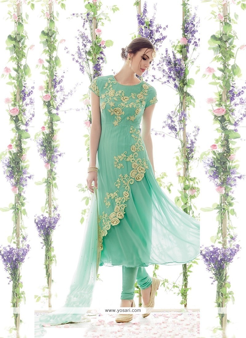 Snazzy Net Churidar Designer Suit