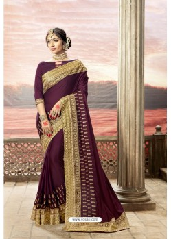 Deep Wine Latest Party Wear Jeni Silk P/P VichitraᅠSari