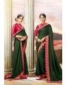 Dark Green Latest Party Wear Jeni Silk P/P VichitraᅠSari