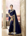 Navy Blue Latest Party Wear Jeni Silk P/P VichitraᅠSari
