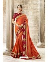 Orange Latest Party Wear Jeni Silk P/P VichitraᅠSari