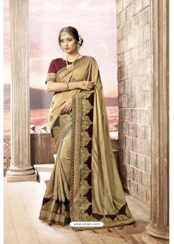 Gold Latest Party Wear Jeni Silk P/P VichitraᅠSari