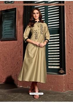 Gold Readymade Heavy Satin Cotton Party Wear Designer Kurti