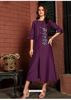 Purple Readymade Heavy Satin Cotton Party Wear Designer Kurti