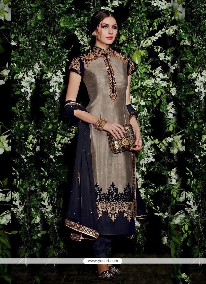 Exuberant Silk Churidar Designer Suit
