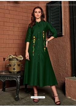 Dark Green Readymade Heavy Satin Cotton Party Wear Designer Kurti