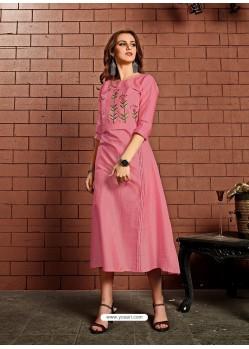 Light Pink Readymade Heavy Satin Cotton Party Wear Designer Kurti