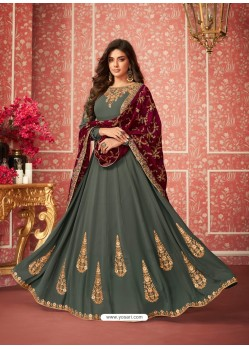 Dull Grey Heavy Embroidered Designer Real Georgette Anarkali Suit