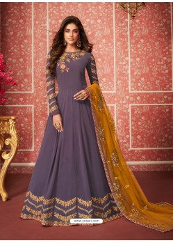 Lavender Heavy Embroidered Designer Real Georgette Anarkali Suit