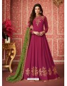 Rose Red Heavy Embroidered Designer Real Georgette Anarkali Suit