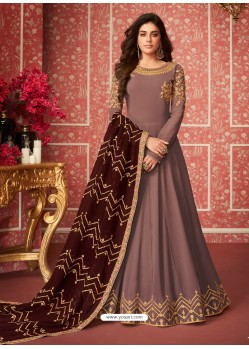 Dusty Pink Heavy Embroidered Designer Real Georgette Anarkali Suit