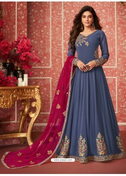 Pigeon Heavy Embroidered Designer Real Georgette Anarkali Suit