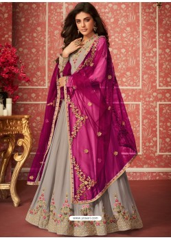 Light Grey Heavy Embroidered Designer Real Georgette Anarkali Suit