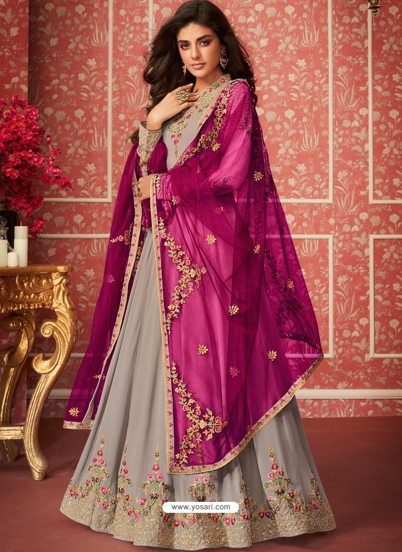 Light Grey Heavy Embroidered Designer Real Georgette Anarkali Suit