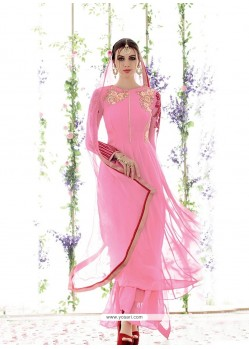 Fashionable Pure Georgette Pink Embroidered Work Salwar Suit