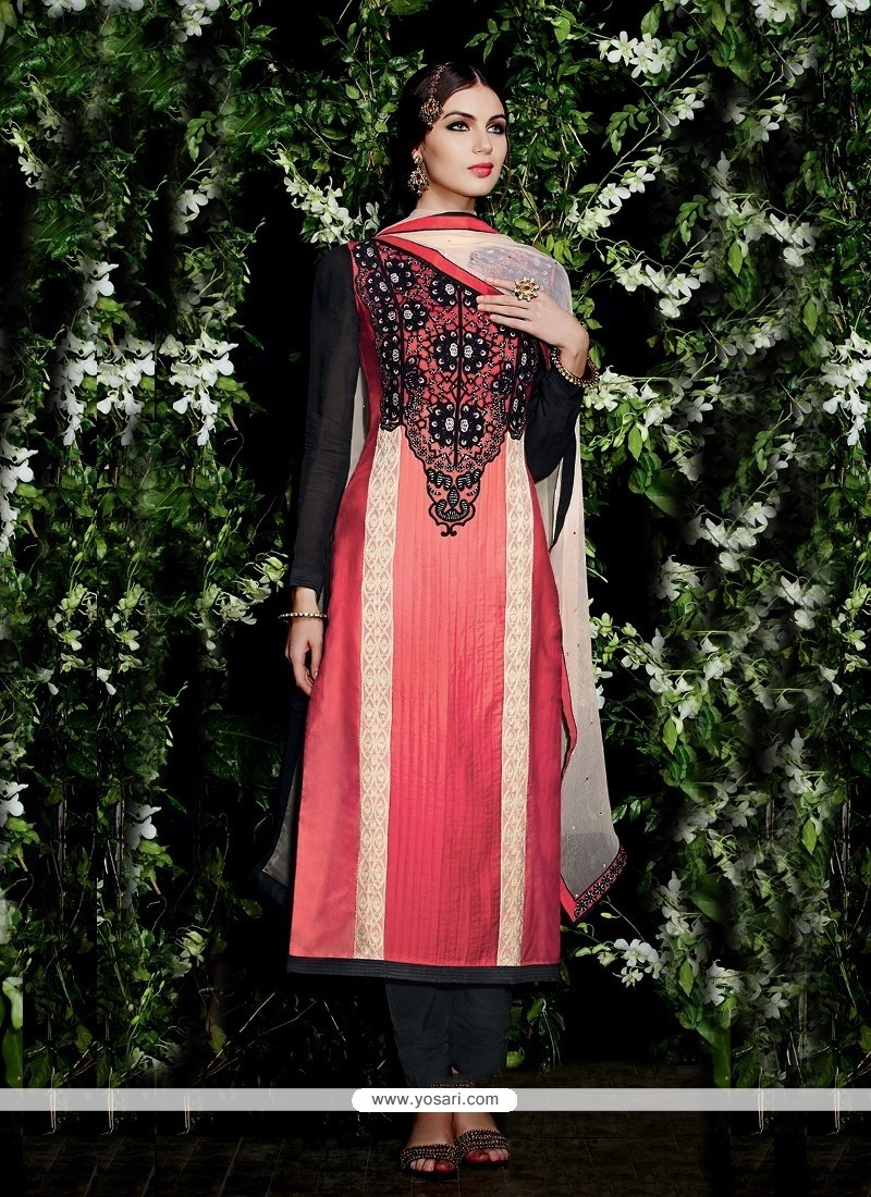 Lovely Red And Black Resham Work Salwar Suit
