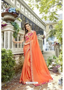 Orange Fancy Designer Party Wear Rangoli Silk Sari