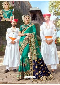 Aqua Mint Designer Party Wear Rangoli Silk Wedding Sari