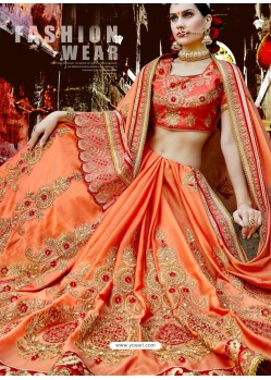 Orange Designer Party Wear Rangoli Silk Wedding Sari