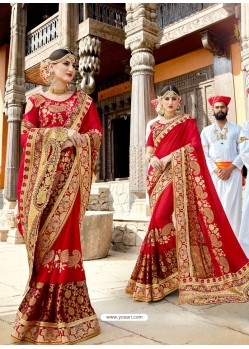 Red Designer Party Wear Rangoli Silk Wedding Sari